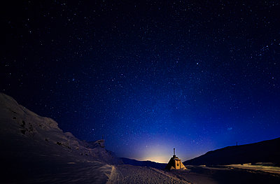 Winter landscape at night - p312m2092235 by Peter Rutherhagen