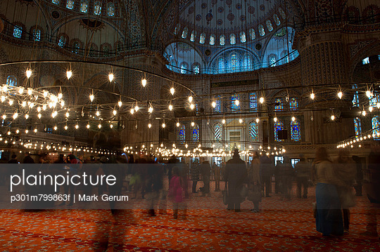 Tourists in the Blue Mosque, Istanbul, Turkey - p301m799863f by Mark Gerum
