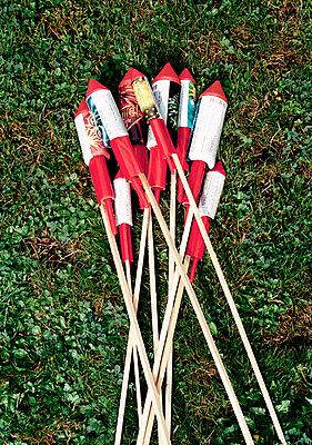 Bottle rockets on grass - p3015205f by Martin Diebel