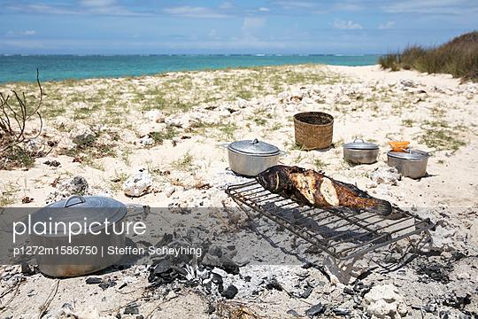 Fisch am Strand grillen - p1272m1586750 von Steffen Scheyhing