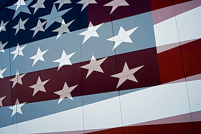 American flag in double exposure - p301m960812f by Michael Mann