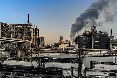 Chemical industrial plant with freight wagon - p401m2228372 by Frank Baquet