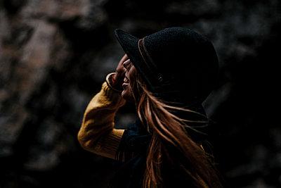 Happy woman in the Rakov Skocjan cave system in Slovenia - p1455m2081776 by Ingmar Wein