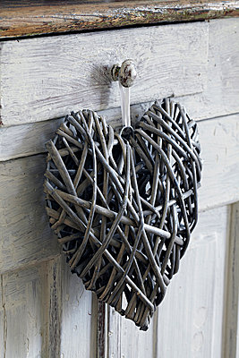 Heart shaped decoration, hanging on handle - p429m930240f by Debby Lewis-Harrison