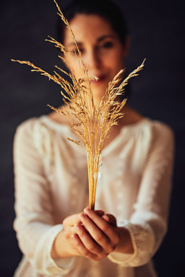 Woman holding corn ears - p968m2020227 by roberto pastrovicchio