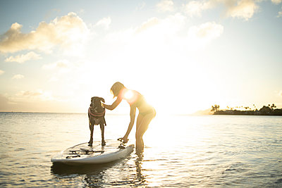 Dog standing on paddleboard with woman petting him in Hawaii - p1166m2279549 by Cavan Images