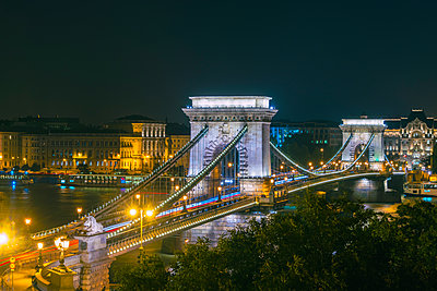 Széchenyi Chain Bridge with fluorescent strips at night - p1332m1502318 by Tamboly