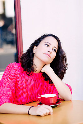 Girl in a cafe - p1096m962657 by Rajkumar Singh