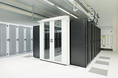 Doorway and lockers in server room - p429m665364f by Mischa Keijser