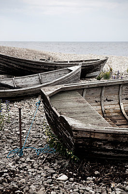 Old rowing boats, Gotland, Sweden - p312m857663 by Lena Koller