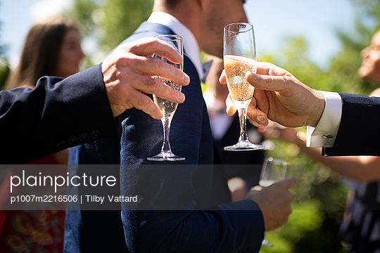 Having a champagne toast on a wedding party - p1007m2216506 by Tilby Vattard