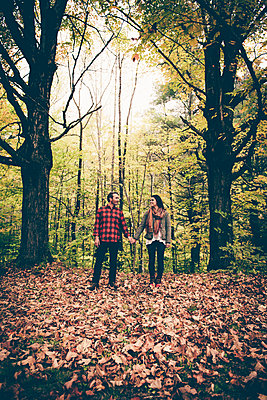 Lake George Fall Couples Portrait  - p1086m1488802 by Carrie Marie Burr