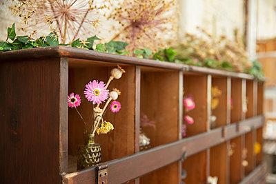 Pink flower bouquet in display cupboard in florist shop - p1023m2261825 by Martin Barraud