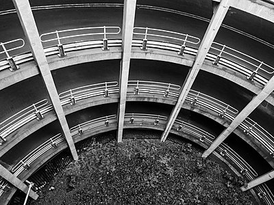 Looking down at the curved ramp of Manors Car Park multi storey car park in Newcastle upon Tyne - p1302m1559625 by Richard Nixon