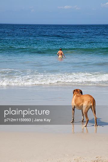 Mann und Hund am Meer - p712m1159993 von Jana Kay