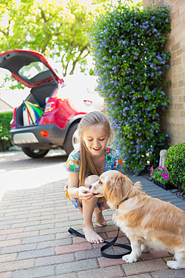 Girl giving treat to dog in driveway - p1023m2024426 by Tom Merton