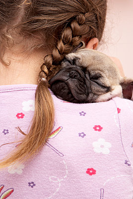 Mixed race girl hugging pug - p555m1420108 by Tanya Constantine