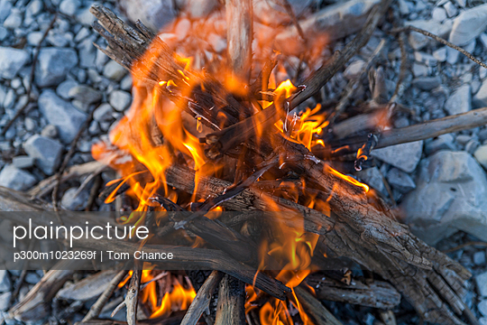 Campfire made from driftwood - p300m1023269f by Tom Chance