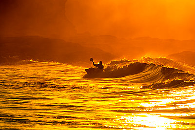 UK, Scotland, East Lothian, Kayak Surfing at sunset - p300m2030307 by Scott Masterton