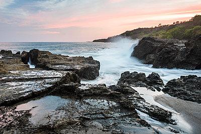 Montezuma Beach at sunset, Nicoya Peninsula, Puntarenas, Costa Rica - p871m2032123 by Matthew Williams-Ellis