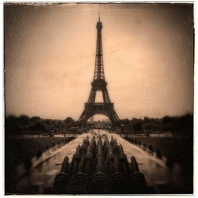Eiffel Tower in sepia - p1154m1110235 by Tom Hogan