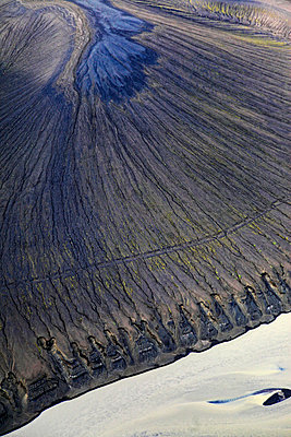 Aerial view of Vatnajökull glacier and snowfield, Landmannalaugar, Iceland - p1026m992066f by Romulic-Stojcic