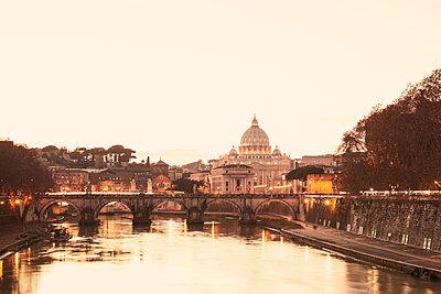 St. Peter's Basilica and Ponte Sant'Angelo in the evening - p300m961806 by Gaby Wojciech