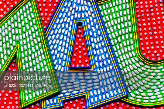 Funfair, Neon sign - p1523m2071449 by Nic Fey