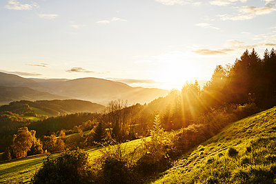 Sunbeams over landscape - p1312m2161009 by Axel Killian