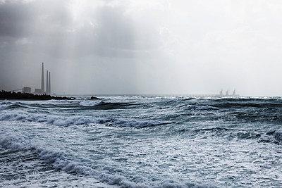 View of stormy ocean - p300m660087f by Tom Hoenig