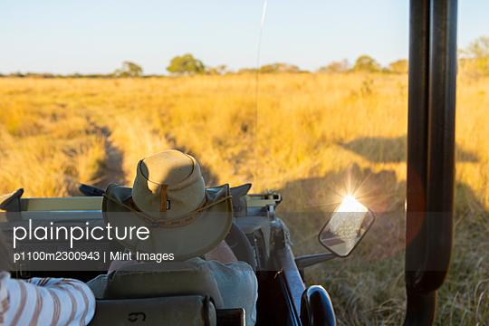 Safari vehicle at sunset, Okavango Delta, Botswana. - p1100m2300943 by Mint Images