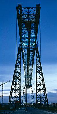 Middlesbrough Transporter Bridge, River Tees, England, 1911. Bridge at dusk. Grade II star listed in 1985. - p8550045 by Joe Cornish