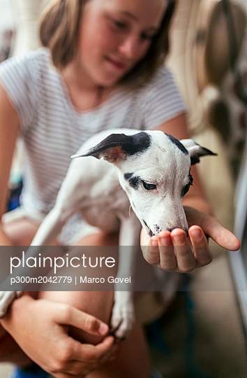 Puppy on girl's lap - p300m2042779 von Marco Govel