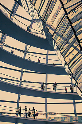 Interior shot of the Reichstag, German parliament building with visitors, Berlin, Germany - p1062m1172145 by Viviana Falcomer