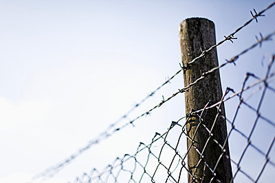 Wire mesh fence with pole against sky - p300m659898f by reka prod.