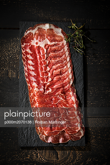 Coppa Piacentina, air dried pork collar - p300m2070138 by Roman Märzinger