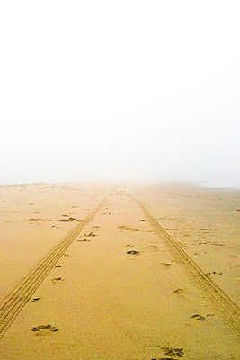 Tire tracks on sand at beach during foggy weather - p1166m1210571 by Cavan Images