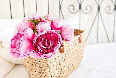 Rosa Blumen in Korb - p1510m2028793 von Ingrid Amenda