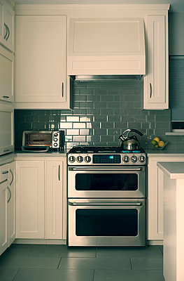 Kitchen Scene with Kettle and Toaster On - p1617m2223553 by Barb McKinney