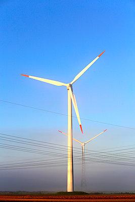 Windkraftwerke im Frühnebel - p1258m1165807 von Peter Hamel