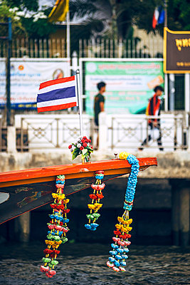 Thailand, Bangkok, decorated ferry boat at Chao Phraya River - p300m1115043f by klublu