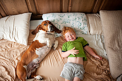Toddler boy waking up with basset hound dog next to him at home in bed - p1166m2148802 by Cavan Images