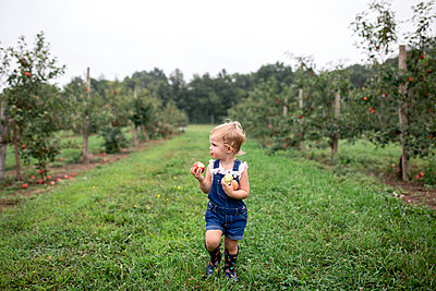 Cute girl eating apple while standing on grassy field - p1166m2040030 by Cavan Images