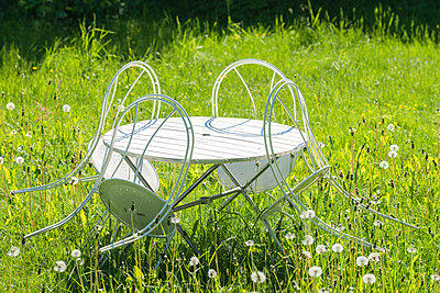 Garden furniture in the meadow - p1418m1571717 by Jan Håkan Dahlström