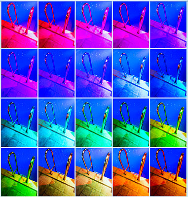 Collage of color illuminated swimming pool ladder - p1418m2134297 by Jan Håkan Dahlström
