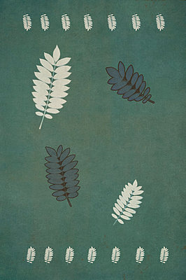 Computer generated abstract pattern of dried pressed rowan leaves on green background - p1047m2289809 by Sally Mundy