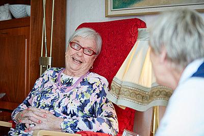 Smiling senior women - p312m1054602f by Jan Tove
