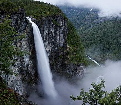 Norway, Jotunheimen mountain range and Utladalen valley with Vettisfossen waterfall - p352m1349394 by Gustaf Emanuelsson