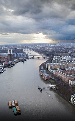 Aerial view of The Thames and Battersea Power Station London - p429m896067 by Tim Hall