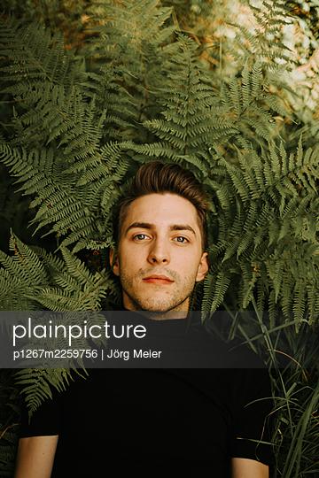 Man between fern leaves - p1267m2259756 by Jörg Meier